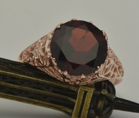 Free shipping exclusive custom processing fashion luxury elegant lady wedding 14 k rose gold natural garnet rings