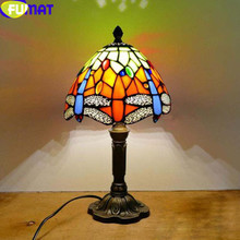 FUMAT Stained Glass Table Lamps LED E27 Tiffany Dragonfly Light 7 Inch Children Marriage Desk Home Art Deco Bedside Lamp