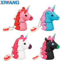 Nuevo estilo de dibujos animados unicornio Pen Drive 64gb 32gb usb flash drive 128gb lindo caballo pendrive capacidad real 1 gb 2gb 4gb 8gb 16gb de memoria(China)