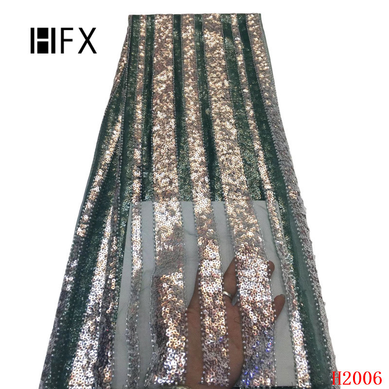 HFX African Fabrics 2019 Green/Gold High End Mesh Lace Embroidered Wedding Dress Nigerian Tulle Net Lace French Fabric X2006HFX African Fabrics 2019 Green/Gold High End Mesh Lace Embroidered Wedding Dress Nigerian Tulle Net Lace French Fabric X2006