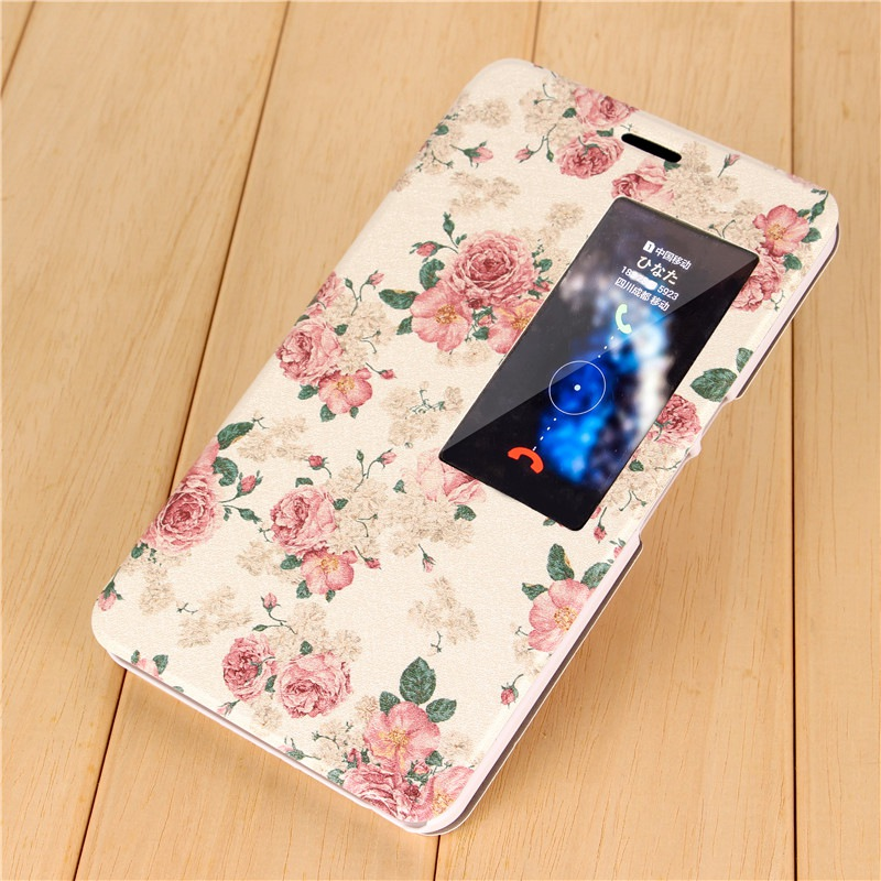 Huawei honor X2 protective case MediaPad X2 Flip cover Pu leather back cover GEM-703L smart window cartoon painting 7.0