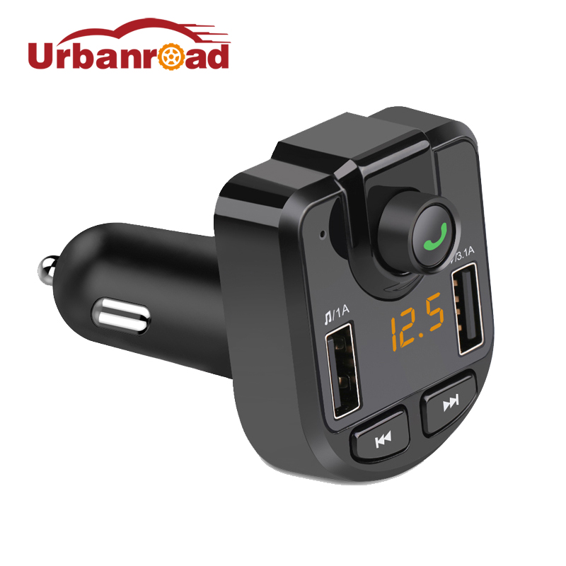 Urbanroad Dual USB Charger Fm Transmitter Car Wireless Bluetooth Mp3 Player Car 4.1A For Iphone GPS Fm Modulator With Voltage