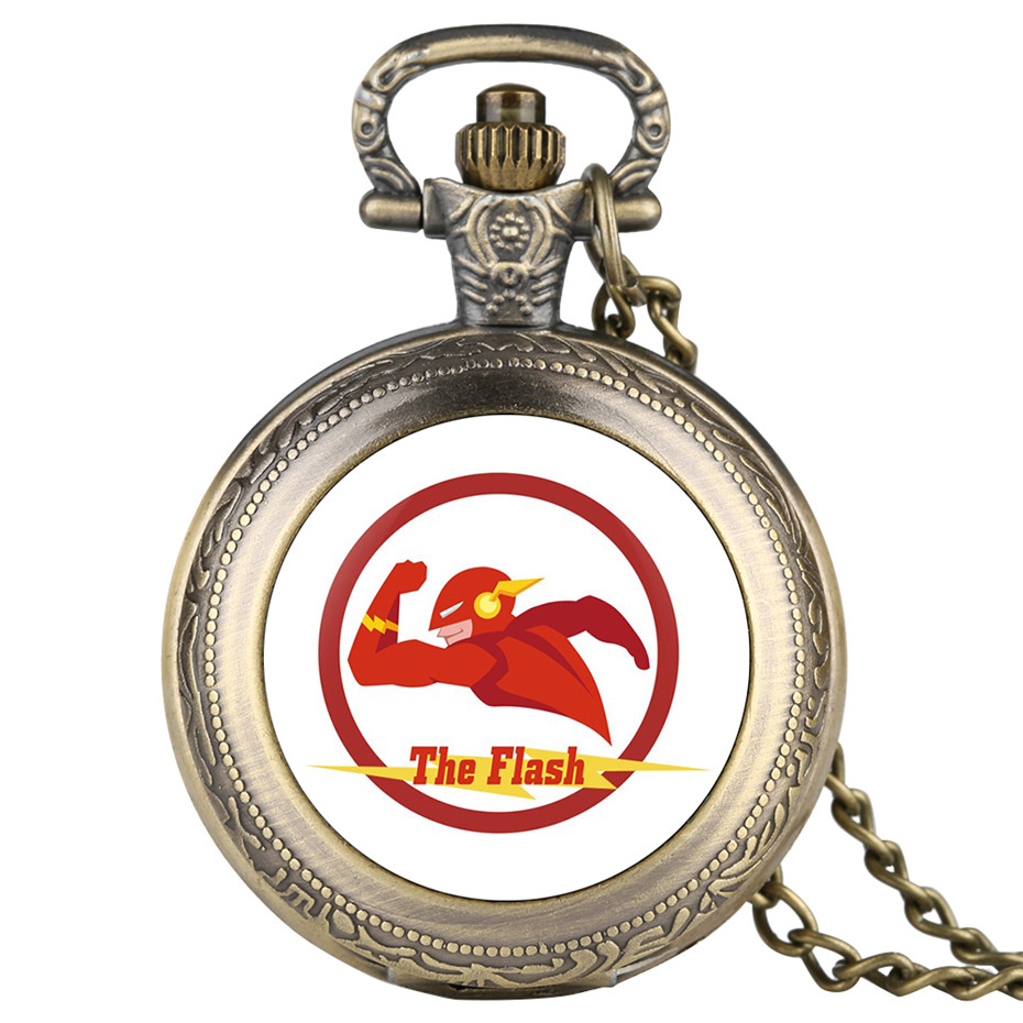 The Flash Man Quartz Pocket Watches Necklace Pendant Black/Gold/Silver/Gold Color Case Casual Men's Watches Clock For Children