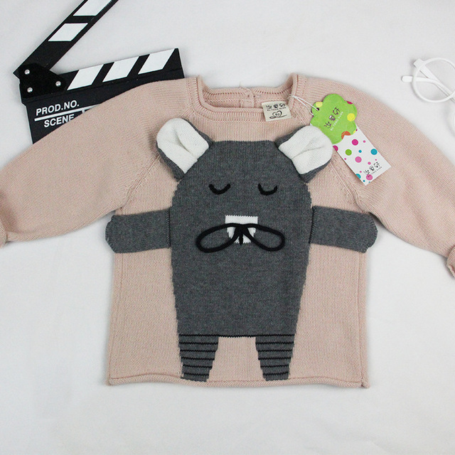 Autumn Baby Pullover Sweater Kids Boys Cotton 3D Mouse Pattern Knitts Cardigan Clothes Children Girls Crocheted Jumper Knitwear