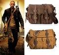 Я легенда уилл смит военный холст + натуральная кожа мужчины сумка холст сумка мужчины кроссбоди мешок свободного покроя сумка 2016