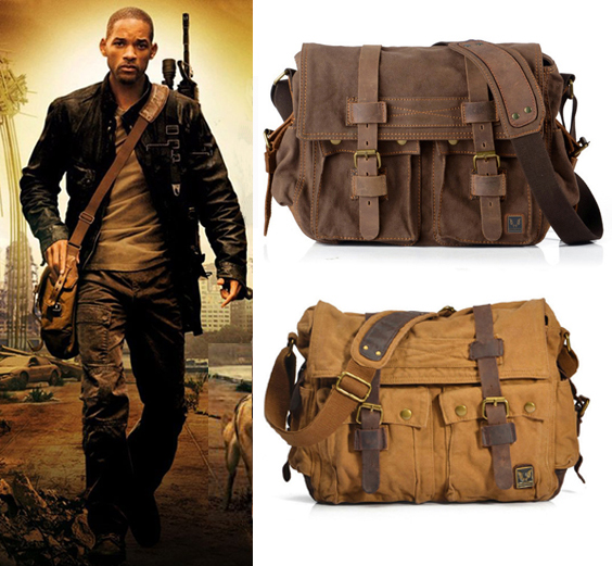 I AM LEGEND Will Smith military canvas Genuine font b leather b font Men messenger bag