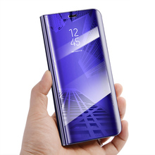J6+ Mirror Flip Case For Samsung Galaxy J6 2018 Luxury Clear View PU Leather Cover Plus for