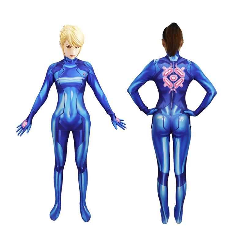 Women Girls Samus Zero Aran Cosplay Costume 3D Printing Spandex Lycra Zentai Bodysuit Suit Halloween lady's tights Costumes