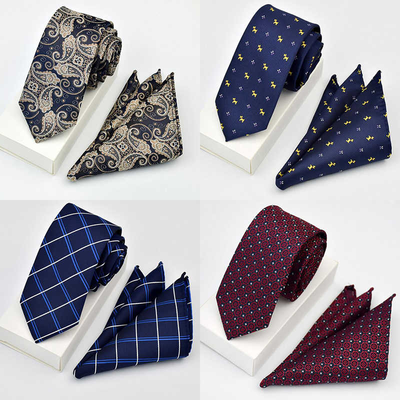 Gusleson 남자를위한 새로운 품질의 넥타이 세트 hanky tie sets dot striped 넥타이 hombre 6 cm gravata slim tie for wedding social party