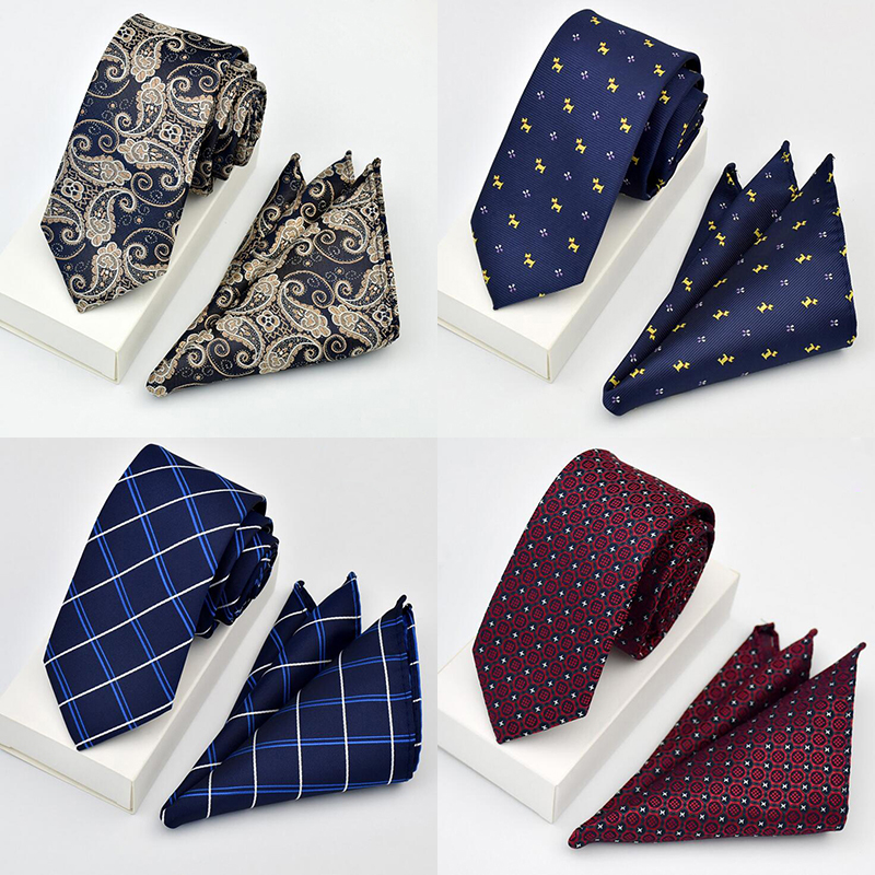 GUSLESON New Quality Tie Set For Men Hanky Tie Sets Dot Striped Neckties Hombre 6 cm Gravata Slim Tie For Wedding Social Party