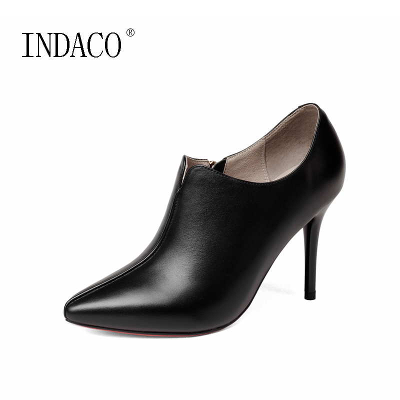 Genuine Leather Autumn Boots for Women Black Red Bottom Thin High Heel Women's Ankle Boots Slip on Pointed Toe