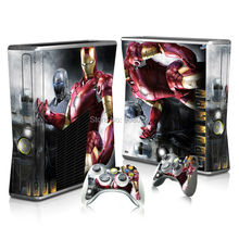 Iron Man Decal Skin Console Cover For Xbox 360 Slim Console Skin Stickers+ 2Pcs Controller Protective Skins Accessory