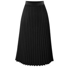 f7bd341608 Fashion New Lady Women Summer Long Chiffon Skirt Elastic Waist Double Layer  Midi Pleated Skirts(