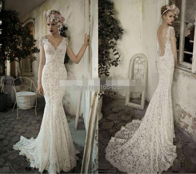 Hot sale charming v neck mermaid lace wedding dresses cap for Backless wedding dresses for sale