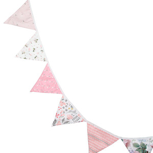 Image 3 - 12 Flags 3.2m Cute Pink Flowers Printed Cotton Fabric Bunting Pennant Flag Banner Garland Wedding/Birthday Party Decor Supplies