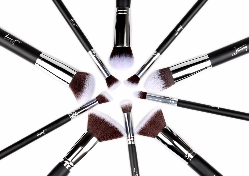 Jessup 10Pcs Professional Make up Brushes Set Foundation Blusher Kabuki Powder Eyeshadow Blending Eyebrow Brushes Black/Silver