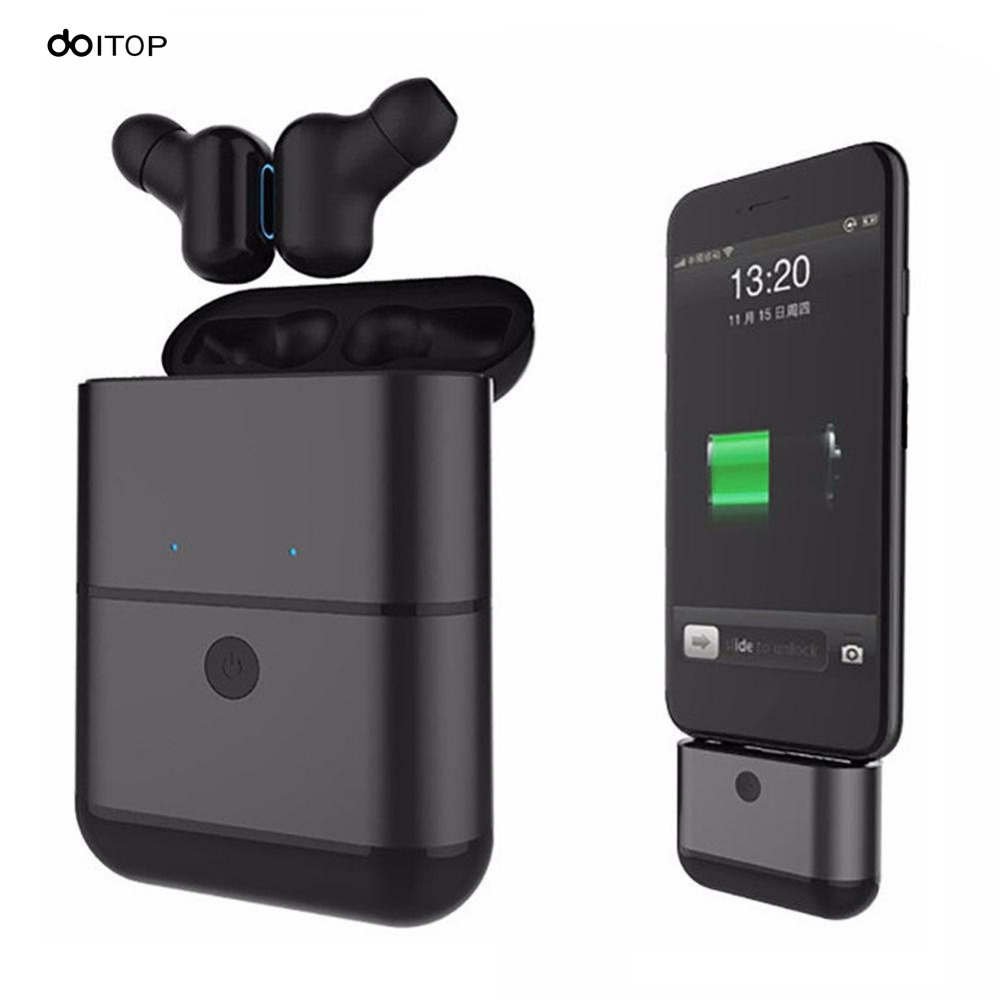 DOITOP Mini Wireless Bluetooth Headset with Charging Tank Handfree Mic IPX5 Waterproof Sport Stereo Earphone For iPhone Samsung