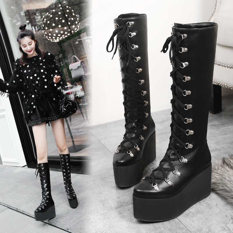 Fashion Women/'s Knee High Boots  Wedge Heel Platform Winter Faux Suede  Shoes