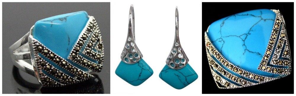 Vintage pierre bleue 925 Sterling une bague en marcassite (#7-10) pendentif et boucles d'oreilles ensembles 02
