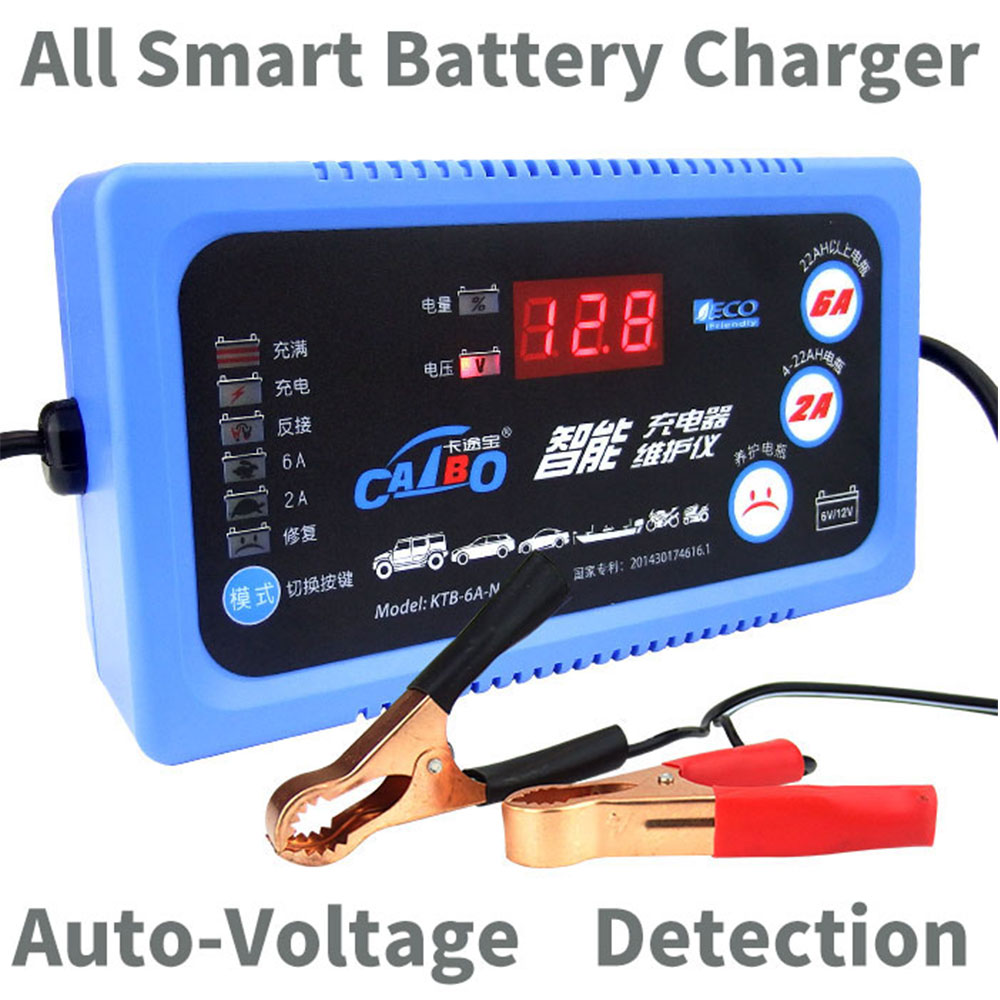 6V12V Car Motorcycle LCD Display Battery Charger/ Maintain 2A 6A Lead Acid Battery Charger For SLA,AGM,GEL,VRLA, Battery Charger ...