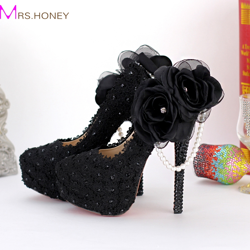 Black Lace Appliqued Evening Dress Shoes Beautiful Side Appliques Party Prom High Heels Flowers Pearl Bridesmaid Shoes Platforms