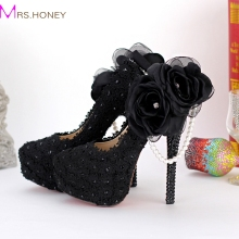 Black Lace Appliqued Evening Dress Shoes Beautiful Side Appliques Party Prom High Heels Flowers Pearl Bridesmaid