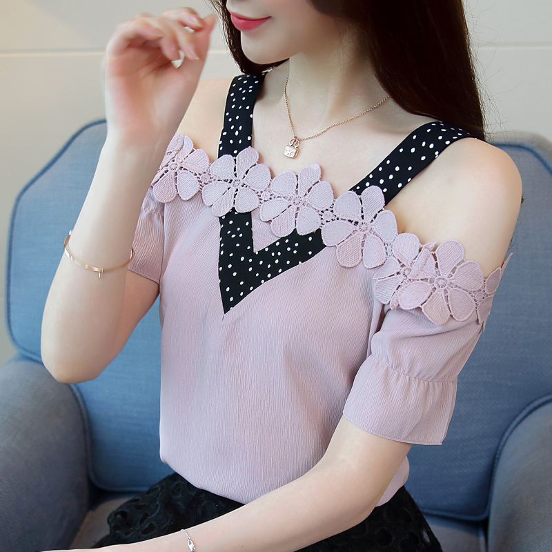 2019 summer new lace stitching Chiffon Shirt Short Sleeved white Lavender Blue lace flower blouse shirt Women blouse tops 802J