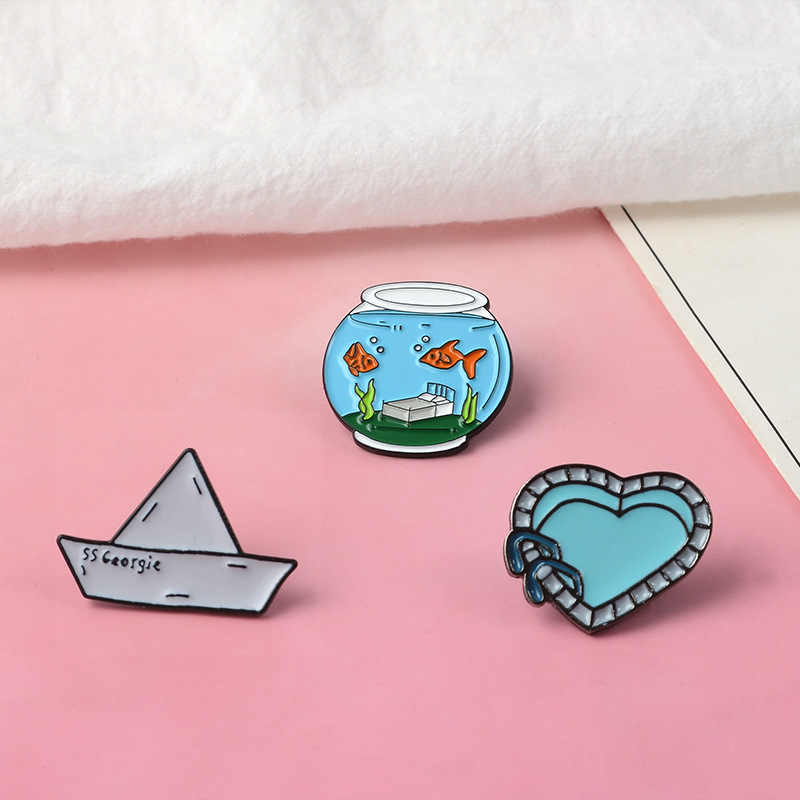 Fish Tank Paper Boat Enamel Pin Heart Swimming Pool Badge Brooch Lapel Pin Denim Shirt Collar Cartoon Women Brooch Jewelry