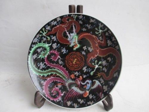 TNUKK Exquisite Ancient Chinese ceramic hand painted Dragon Phoenix plate