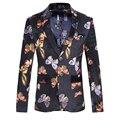 Homens Blazer Qualidade Teste Padrão de Borboleta Da Forma Dos Homens de Veludo Blazer Ocasional Slim Fit Mens Blazer Floral Jaqueta Blazer dos homens de Outono
