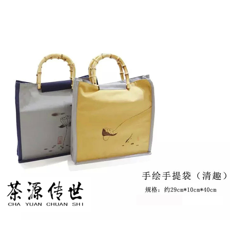 Chinese <font><b>Wind</b></font> Hand-painted Lotus Bag, Canvas Bag, Pure Hand-made Bamboo <font><b>Root</b></font> Bags, Tea bags,two colors to choose from