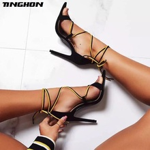 цена TINGHON Summer Mature Flock Gladiator Thin High Heel Sandals Women Pointed Toe Cover Heel Party Lace-Up PU Shoes 35-43 в интернет-магазинах
