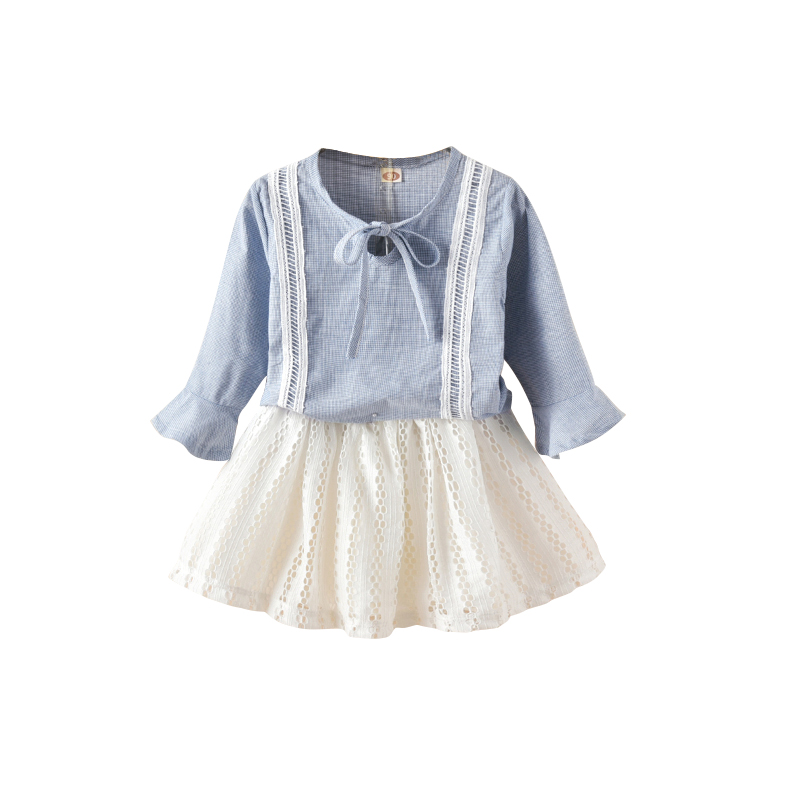 Cute Baby Girls Clothes 2017 SPRING autumn Kids blouse Tops+white Skirt Outfits Children Girl Clothing Set school beauty suits
