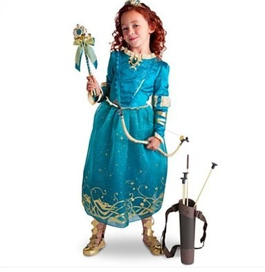 Free shipping Anime Brave Merida Princess Cosplay Halloween Costume Dress for 4-10T girls for christmas gift