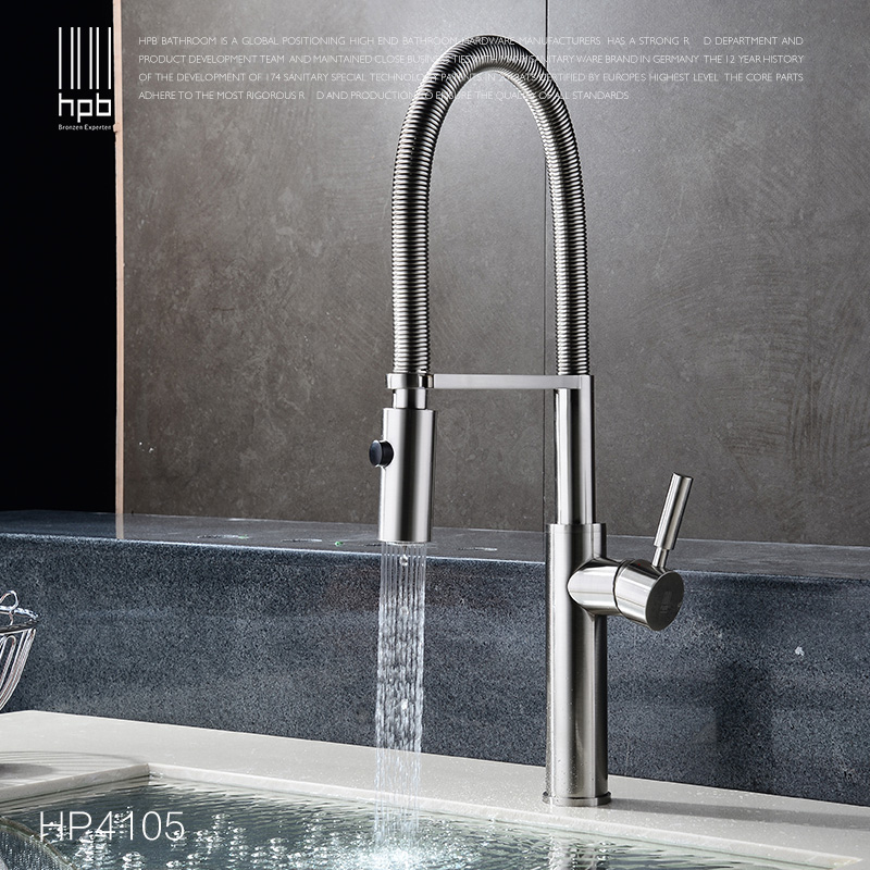 Full Copper hot and cold spring Pull out type kitchen faucet washing dishes basin sink