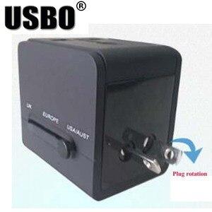 Image 4 - Black White global Universal Plug Adapter double USB 5V 2.1A Port travel AC Power Adaptor with AU US UK EU plug socket converter