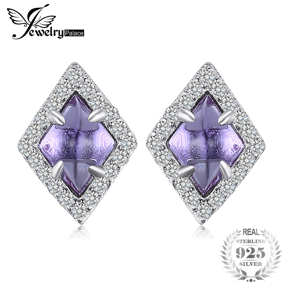 JewelryPalace Fashion 2.73ct Created Alexandrite Sapphire Stud Earrings 100% 925 Sterling Silver Vintage Fine Jewelry For Women jewelrypalace new 1 3ct pear created alexandrite sapphire water drop earrings 925 sterling silver fashion fine jewelry for women
