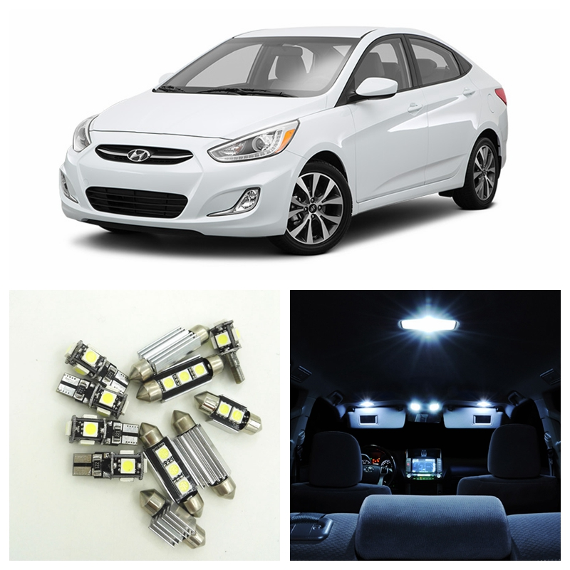 10pcs White Car LED Light Bulbs Interior Package Kit For 2012 2013 2014 2015 Hyundai Accent Map Dome Trunk License Plate Lamp 16pcs canbus car white led light bulbs interior package kit for 2011 2012 2013 2014 2015 volvo s60 map dome trunk door lamp