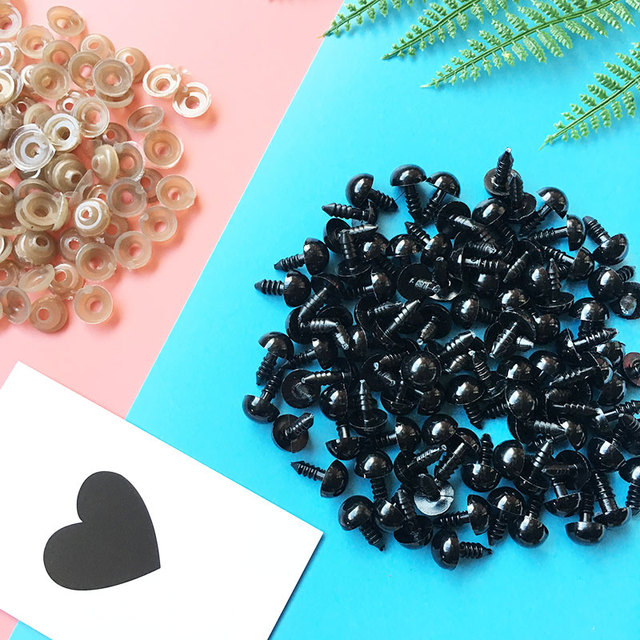 100PCs 6-14mm Black Plastic Amigurumi Eyes Safety Eyes For Teddy Bear Stuffed Toys Snap Animal Puppet Dolls Craft Eyes For Toys