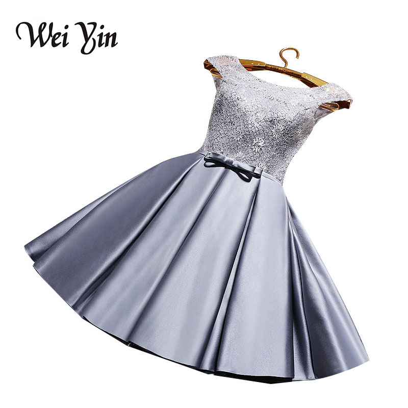 WeiYin A Line Taffeta Cocktail Dress O Neck Sleeveless Wine Red Party Dress Cheap Mini Length Date Dress Vestido de noiva 2018