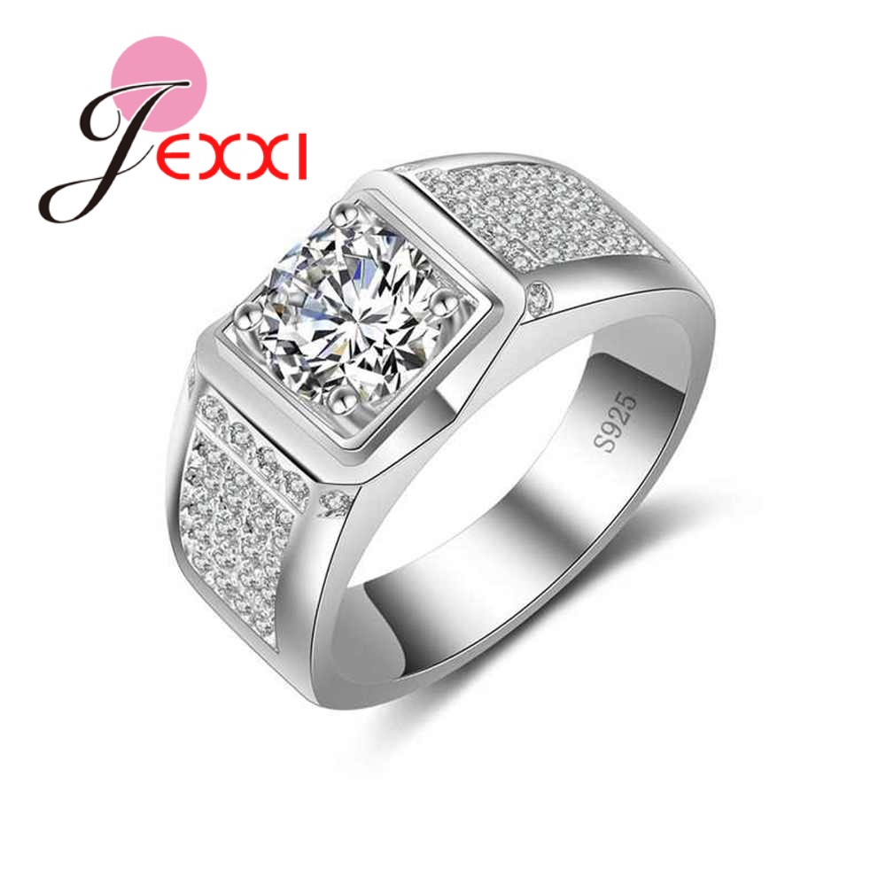 JEXXI Men Rings Sterling Silver 925 Jewellery Simple Design Fashion Clear Zirconia Wedding Engagement Ring For Women Accessories
