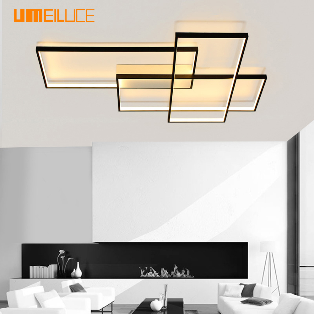 Umeiluce Free Shipping Led Ceiling Light Flush Mounted Aluminium Black Painting 40 Inches Ceiling Lamp for Foyer Stairs Lighting