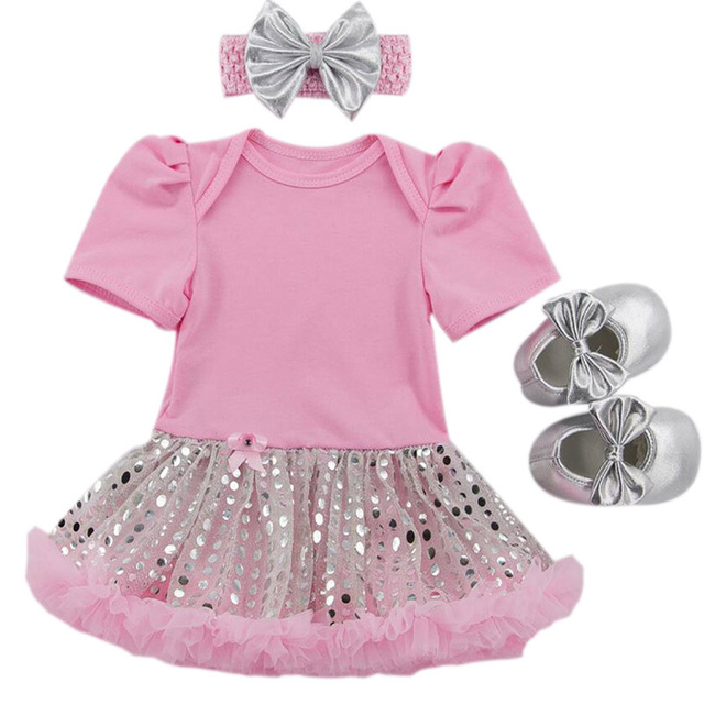 6000307d9c1c 3PCs per Set Baby Girl Pink Plain Romper with Attached Silvery Bling  Sequins Pink Tutu Dress
