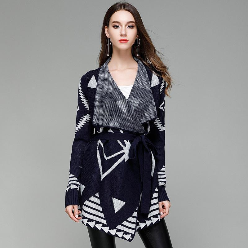 2017 Autumn Lapel Elegant Sweater Cardigans Women Patchwork Casual Jumper Knitted Outerwear Lady Loose Knitwear Cardigan Outwear