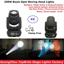 4Pcs 200W LED Moving Head Light Beam Spot 2IN1 Lighting Dj Christmas Projector Good For Bar Party Professional Shows