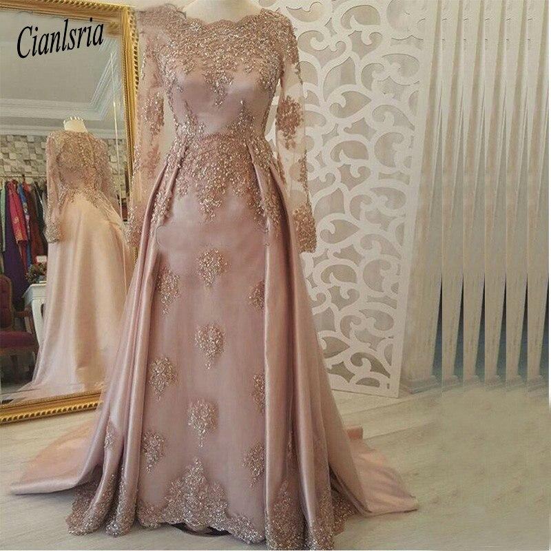 Saoudien arabe musulman manches longues robes de soirée rose 2019 caftan dubaï robes de bal élégant dentelle Appliques vestido