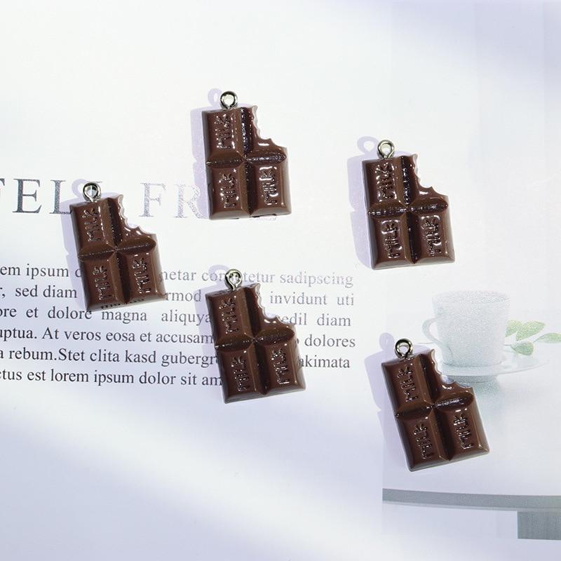 Подвески MRHUANG из молочного шоколада и смолы, 17*24 мм, 10 шт./упак., для ожерелья, браслета, DIY, модные ювелирные аксессуары