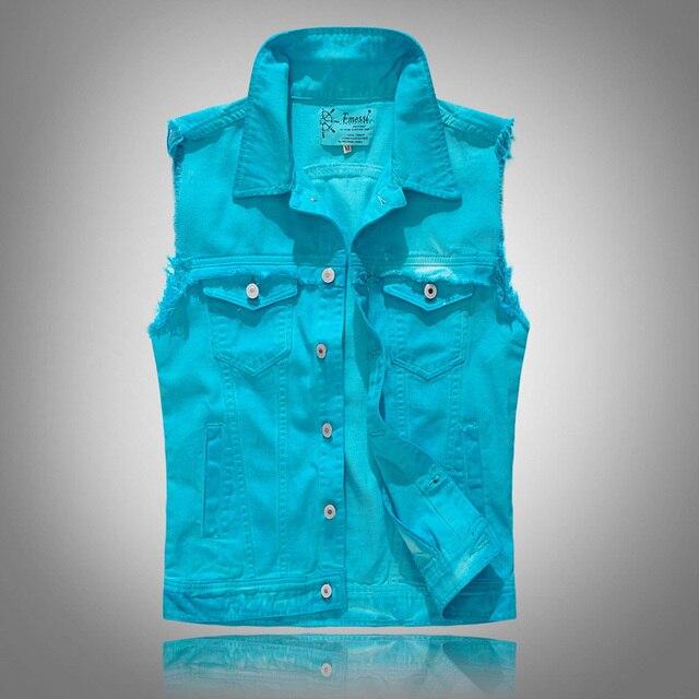 85ede56d7681 Camouflage Men Denim Vest Vintage Sleeveless Washed Jeans Waistcoat Man  Military Slim Fit Vest Cowboy Ripped