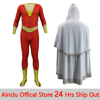 Shazam Cosplay Captain Marvel Costume Billy Batson Jumpsuit Costumes Marvel Suit with Cloak Superhero Halloween Adults Men Kids