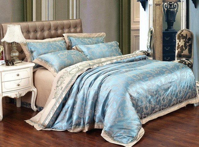 513049b6ebf5 Patten Two Sky Blue noble super king comforter sets/ Bedspreads Luxury Silk Bedding  set/Bed cover /doona cover sets /bed sheet